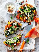 Veggie-Pizza mit Röstgemüse auf Vollkorn-Pitaboden (Low Carb)