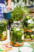 Gherkins in mason jars