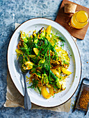 Char-grilled Zucchini Flowers with Orange and Herb Salad