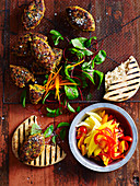 Spicy Lentil Patties with Fiery Fruit Salsa