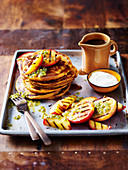 Sweet Potato Pancakes with Grilled Peaches and Coconut Caramel