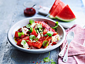 Grilled Watermelon and Mozzaerlla Salad with Raspberry Dressing