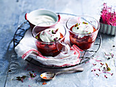 Soft-set Spiced Rhubarb Jellies with Vanilla Bean Yoghurt