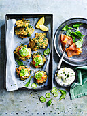 Kale and Chickpea Fritters with Smoked Salmon