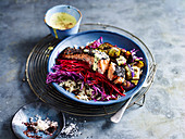 Purple Abundance Bowl with Crisp Skin Salmon and Tummeric Dressing