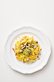 Fettuccine with sword fish, shallots and celery