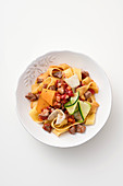Pappardelle with duck breast and vegetables