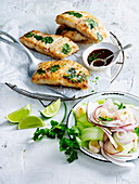 Crisp Fish Parcels with Lychee and Coconut Salad