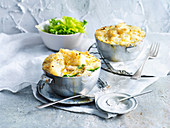 Creamy Chicken Pies with Celeriac and Parsnip Mash