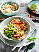 Chilli Chicken with Pickled Cabbage Salad
