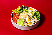 A rainbow bowl with smoked tofu