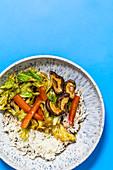 Stir-fried Thai Savoy cabbage with shiitake mushrooms