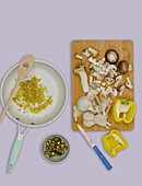 Ingredients for a mushroom sauce