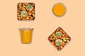 Gefüllte Tomaten mit Couscous auf Ratatouille und Tomatensuppe (Meal Prep)