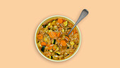 Minestrone in a microwave-proof dish