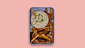 Vegetable chips with a tuna fish dip