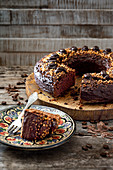 Chocolate coffee cake, sliced