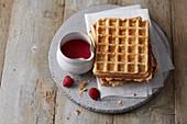 Buttermilk waffles with raspberry sauce