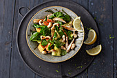 Papaya and avocado salad with chicken