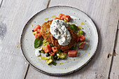 Freekeh fritters with a melon salad