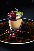 Iced cappuccino with caramelised cherries