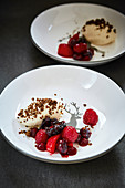 Pumpernickel mousse with a berry ragout