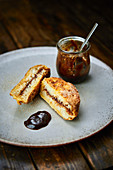 Damson Bavesen (Bavarian French toast) and damson preserve