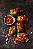 Savoy cabbage parcels with tomato wheat