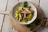 Turkey with black salsify and millet risotto