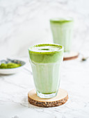 Vegan matcha lattes with coconut milk