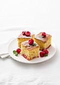 Diced ricotta and raspberry cake