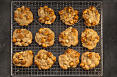 Popcorn biscuits on a cooling grid