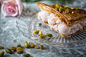 Cardamon and Rose Ice Cream with Pistachio in a Baklava shell