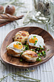 Gratinated pork tenderloin with fried quail eggs
