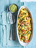 Straccetti with shrimps and pistachio pesto
