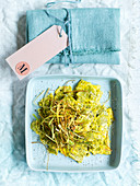 Herb pasta with eggs and lemon sauce