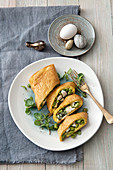 Omelet with fava beans, ricotta and mint