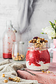 Strawberry smoothie with natural yoghurt and crunch muesli