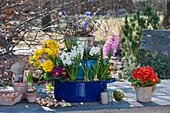 Etagere aus Töpfen mit Frühlingsblumen bepflanzt
