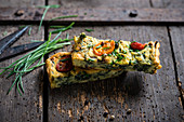 Vegan frittata made from yellow mung beans and spinach