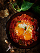 Shakshuka with fried eggs