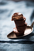Vegan chocolate cups filled with coffee cream