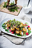 Fried potatoes with a colourful salad and a vegan yoghurt sauce