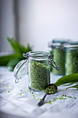Homemade coarse wild garlic salt