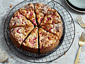 Rhubarb cake with almond flakes