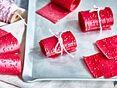 Raspberry yoghurt fruit leather made in a drying machine