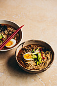 Ramen soup with noodles, miso and egg