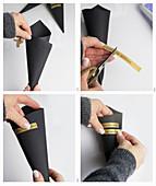 Anleitung für eine schwarze Papiertüte mit aufgeklebter Schrift