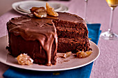 Chocolate and chestnut layer cake, sliced