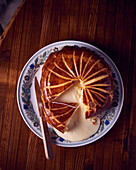 Reblochon cheese cake with puff pastry, sliced